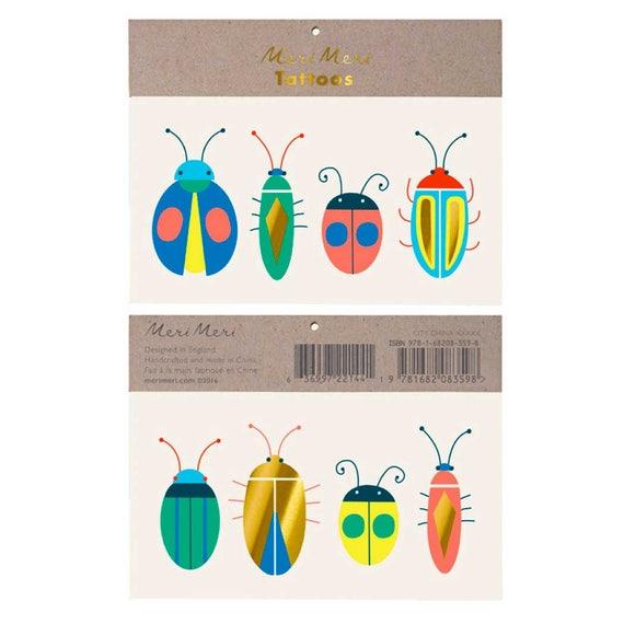 Kids Temporary Tattoos Neon Bugs By Meri Meri Bug Tattoo Etsy