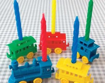 Train Candle Holders, Plastic Train Candleholder, Retro Birthday Cake Decoration, Boy Birthday Party Train, Train Cake Topper