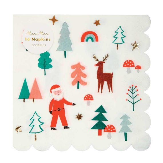 Christmas Napkins.Christmas Napkins Meri Meri Santa Scene 16 Large Paper Napkins Holiday Napkins Party Napkin Christmas Decor Vintage Christmas Table