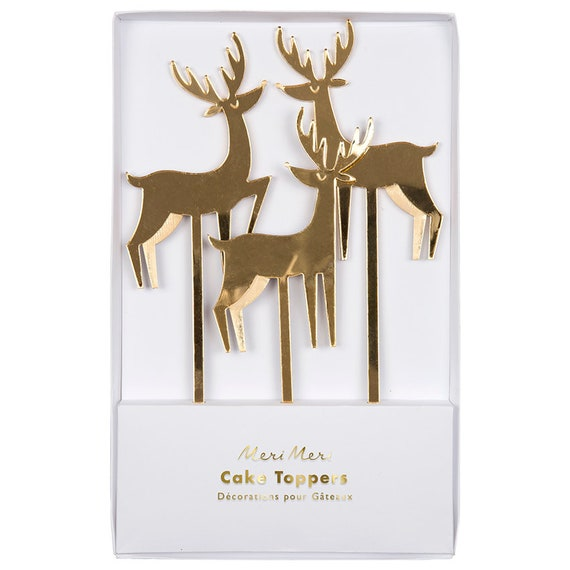 Gold Acrylic Reindeer Cake Toppers, Mirror Finish Reindeer Picks, Christmas Decor, Meri Meri