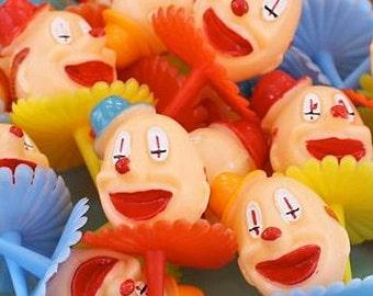 Clown CakeToppers (12), Retro Clown Cupcake Picks, Carnival Party Supplies, Vintage Clown, Clowncore Decor