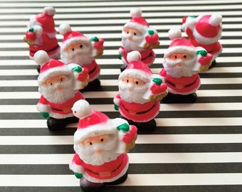Little Santa Cake Toppers (8), Hollow Plastic Miniature Santa, Christmas Topper, Santa Claus, Christmas Cake Decoration, Xmas Decor