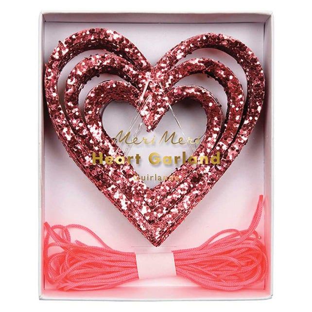 Pink Glitter Hearts Garland, Meri Meri Valentine Decorations, Wedding Banner, Bridal Shower, Bachelorette Party