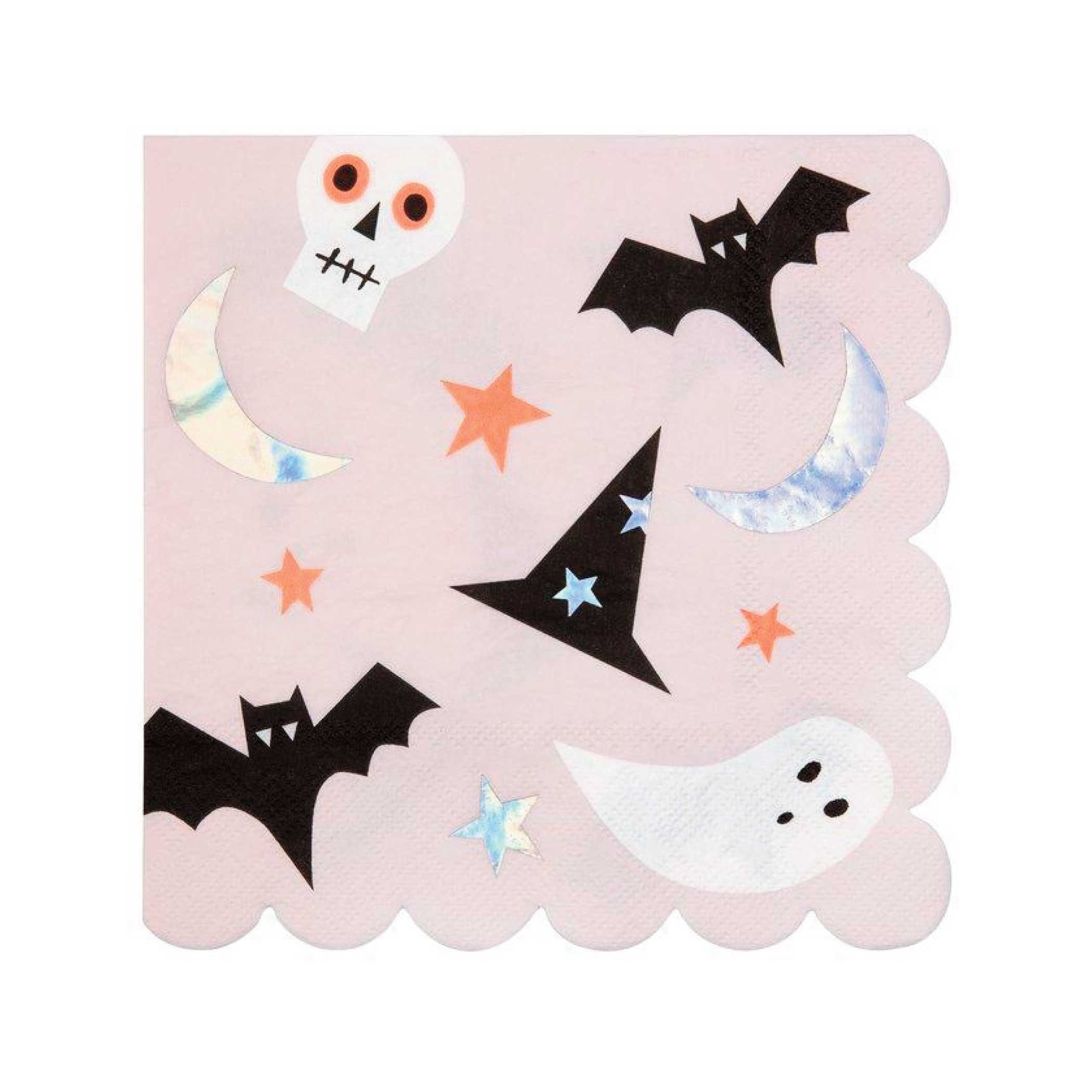 Black Cat Face 24 Pack Halloween Party Paper Beverage Cocktail Luncheon Guest Napkins