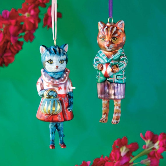 Dressed Cat Ornament, Nathalie Lété Tree Decoration, Hand-Blown and Hand-Painted Glass, Christmas Gift for Her