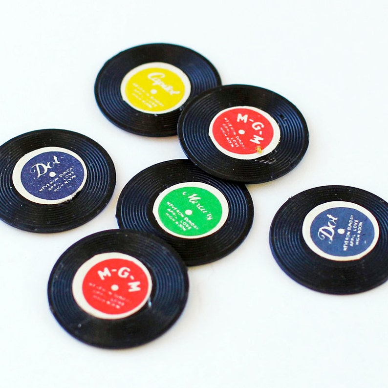 Vintage Record Charms 12 Miniature Records Plastic 70s image 0