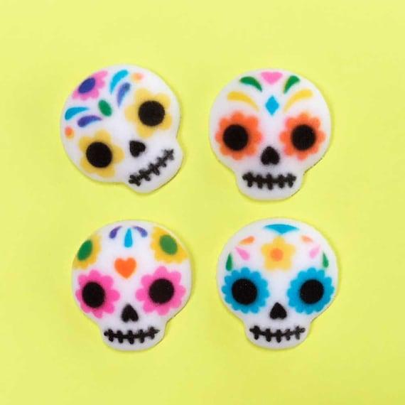 Sugar Skull Edible Cake Toppers 12 Dia de los Muertos Sugar | Etsy