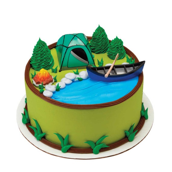 Camping Cake Topper 4 Pieces Camp Cake Decoration Kit Tent Canoe Oar Campfire