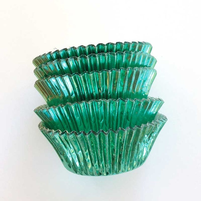 Jade Green Foil Cupcake Liners (45), Metallic Cupcake Liners, Emerald Green Baking Supplies, Go Wild Party, Christmas Spring Summer Garden