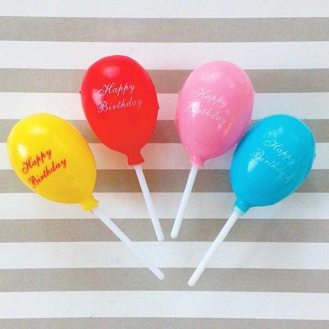 8 Happy Birthday Balloon Cupcake Picks Plastic Toppers Balloons on Sticks