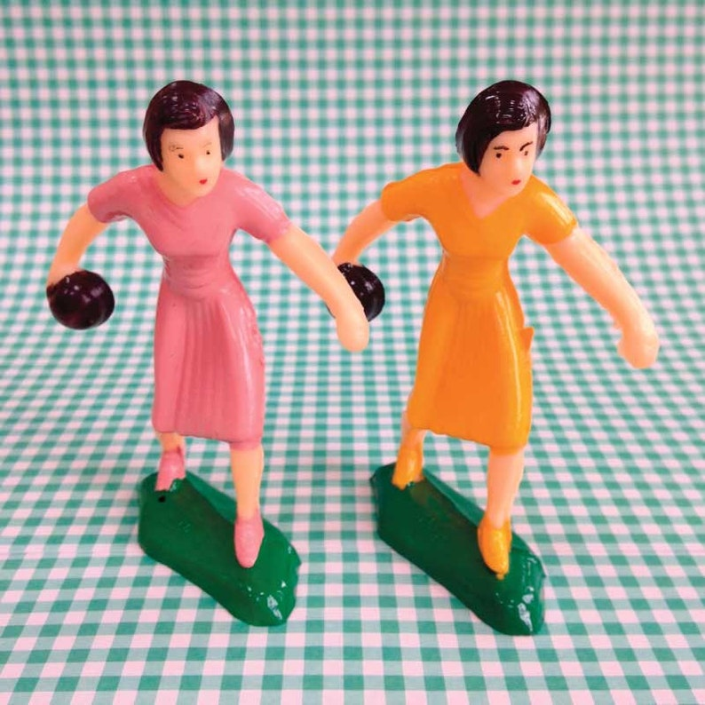 Vintage Miniatures Bowler Man and Woman and Bowling Pin /& Ball Sets Bowling Cake Toppers