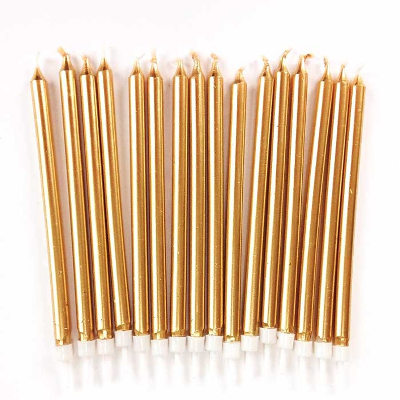 Tall Gold Birthday Candles 16 Five Inch Tapers Long
