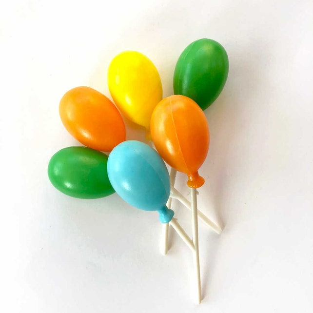 Cake Balloons (3), Plastic Balloon Picks, Vintage Cupcake Picks, Balloon Cluster on Sticks, Baking Supplies, Craft Supplies, Rainbow Party