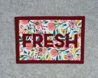 FRESH Applique Mini Quilt, Micro Quilt, Wall Hanging, Office Decor, Desk Accessory
