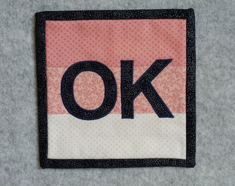 OK Applique Mini Quilt, Micro Quilt, Wall Hanging, Office Decor, Desk Accessory