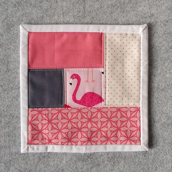 Oversized Coaster / Mug Rug Pink Flamingo