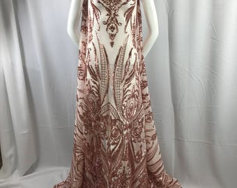 ff0dfd32cf Blush peach empire design with sequins embroider on a 2 way stretch mesh  fabric-prom-nightgown-decorations-sold by the yard.