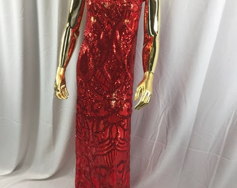 Sold By The Yard. Red Leopard Sequins Embroider On A Red Mesh.prom-nightgown