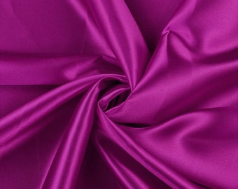 """Magenta Charmeuse Bridal Solid Satin Fabric for Wedding Dress Fashion Crafts Costumes Decorations Silky Satin 58"""" Wide Sold By The Yard"""