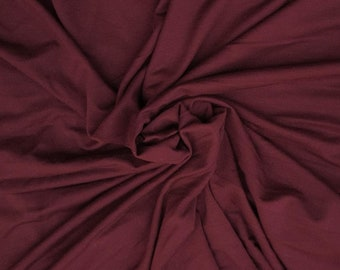 """Burgundy 58/60"""" Wide, 95% Cotton 5 percent Spandex, Cotton Jersey Spandex Knit Blend, 4 Way Stretch Fabric Sold By The Yard."""