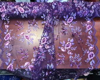 Purple-lillac multi color floral design embroider on a mesh lace-dresses-apparel-fashion-prom-nightgown-decorations-sold by the yard.