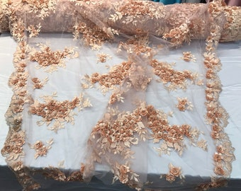 Light peach 3d floral design embroidery and beaded with rhinestones on a mesh lace-prom-nightgown-sold by the yard-free shipping in the USA