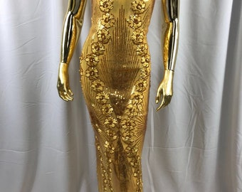 Dark gold goddess design floral embroidery with sequins and pearls on a 4 way Stretch Mesh-dresses-fashion-prom-nightgown-sold by the yard.