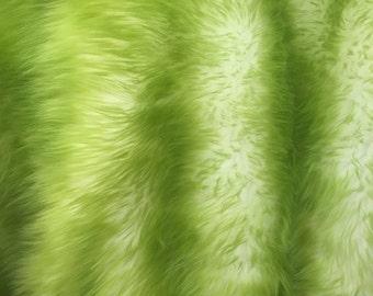 olive/ off white cotton candy design shaggy faux fun fur- 2 tone super soft fur - yard