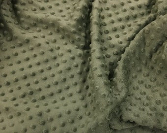 """Dusty Olive 58"""" Wide 100%  Polyester Minky Dimple Dot Soft Cuddle Fabric SEW Craft Sold by The Yard"""