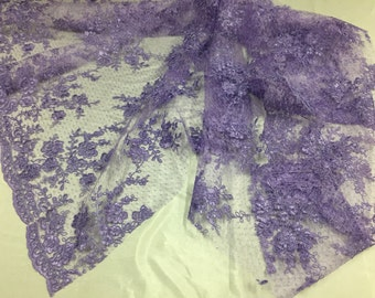 Sensational lavender flowers Embroider And Corded On a Polkadot Mesh Lace-prom-nightgown-decorations-dresses-sold by the yard.