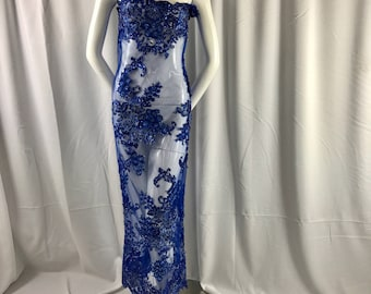 Royal Blue lavish 3D Flowers Embroider With Sequins And Beaded On A Mesh Lace-prom-nightgown-dreses-fashion-apparel-sold by the yard.