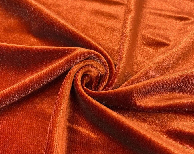 """Burnt Orange 60"""" Wide 90% Polyester 10 present Spandex Stretch Velvet Fabric for Sewing Apparel Costumes Craft, Sold By The Yard."""