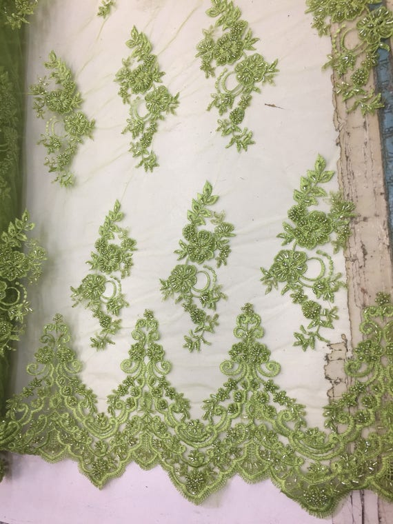 Beautiful Kiwi Green hand beaded flowers on a mesh-Prom-nightgown-by the yard.