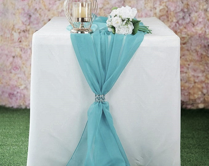 """New Creations Fabric & Foam Inc, Chiffon Table Runner 14"""" Wide by 120"""" Wide Extra Long, Wedding Runners, Holiday Table Runners,"""