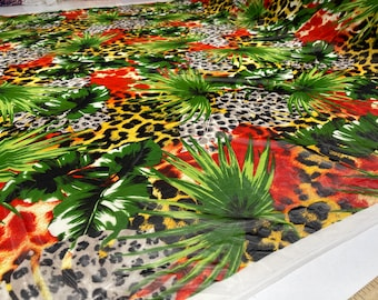 """Multi color exotic animal print with leaf design on power mesh 4-way stretch 58""""-Sold by the yard"""