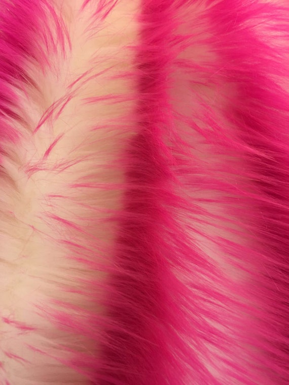 Fuchsia/ivory deluxe cotton candy design-shaggy fun faux fur-2tone super soft faux fur- sold by the yard.