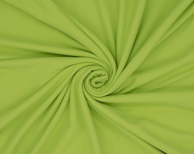 """Lime Green 58/59"""" Wide ITY Fabric Polyester Knit Jersey 2 Way  Stretch Spandex Sold By The Yard."""