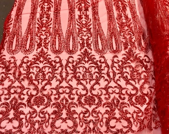 Red shiny glitter damask design on a mesh lace-dresses-fashion-apparel-prom-nightgown-decorations-sold by the yard.