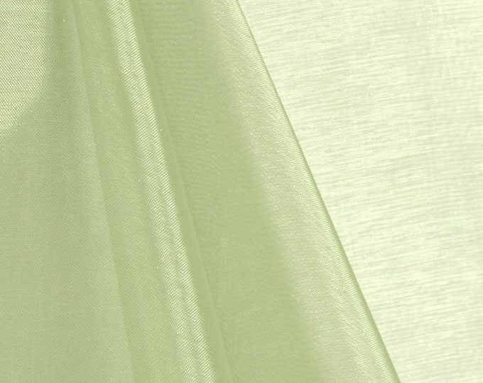 """Sage Green 58/60"""" Wide 100% Polyester Soft Light Weight, Sheer, See Through Crystal Organza Fabric Sold By The Yard."""