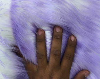 Lilac/ivory deluxe cotton candy design- shaggy faux fun fur- super soft faux fur- sold by the yard-