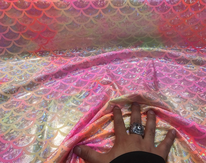 Pink tie dyed iridescent mermaid fish scales on a 2 way stretch nylon spandex-dragon scales-dresses-fashion-skirts-leggings-sold by the yard