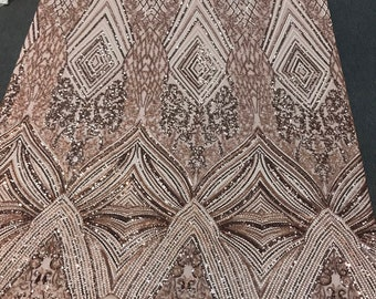 Khaki-nude sequin diamond design embroidery on a 4 way stretch mesh-dresses-fashion-prom-nightgown-sold by yard-free shipping.