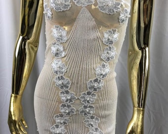 White goddess design floral embroidery with sequins and pearls on a 4 way stretch mesh-dresses-fashion-prom-nightgown-sold by the yard.