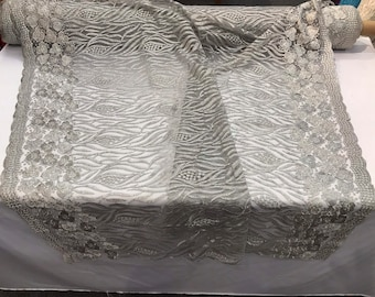 Silver-gray tree design embroidery with flowers and glitter sequins on a mesh lace-dresses-fashion-apparel-prom-nightgown-sold by the yard.