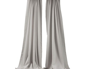 Silver 2 Panels Backdrop Drape, All Sizes Available in Polyester Poplin, Party Supplies Curtains.