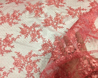 Sensational Dark coral flowers Embroider and corded on a Polkadot Mesh Lace-prom-nightgown-decorations-dresses-sold by the yard.