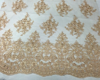 Champagne royal flowers embroider with sequins on a mesh lace -yard