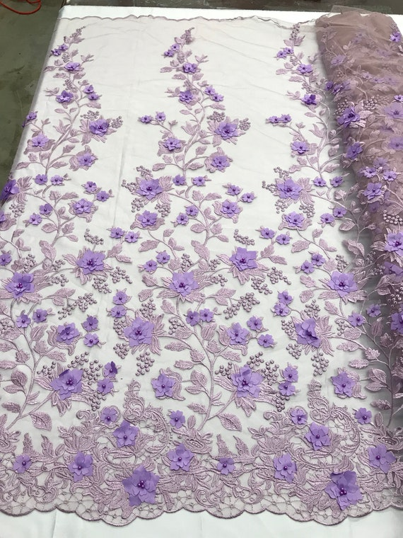 DUSTY ROSE 3D CHIFFON FLOWER DESIGN EMBROIDERY WITH PEARLS ON A MESH-1 YARD.