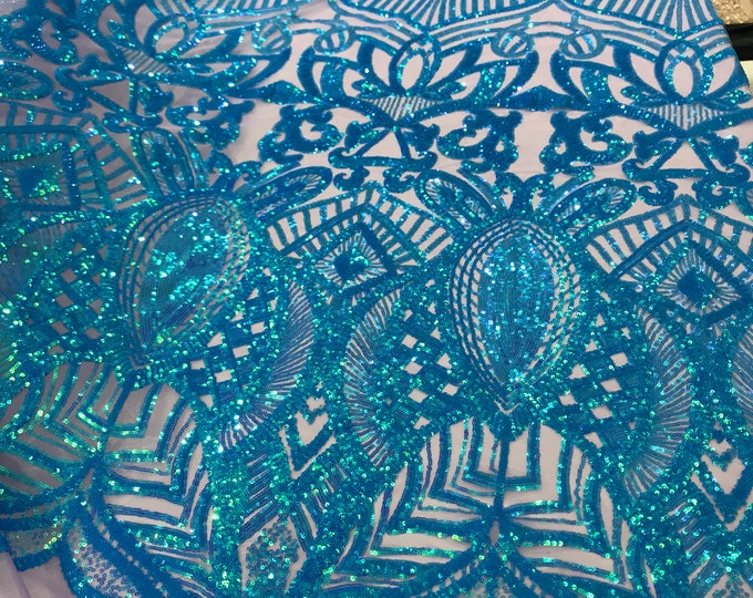 Turquoise royalty design on a lavender 4 way stretch mesh-prom-nightgown-sold by the yard.