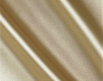 """Champagne Heavy Shiny Bridal Satin Fabric for Wedding Dress, 60"""" inches wide sold by The Yard."""